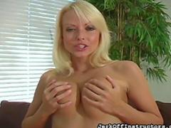 Blonde with big tits masturbates her twat