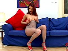 Big-tit redhead milf Barbara is pissing