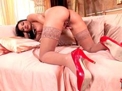 Glamorous brunette demonstrates her slender body