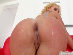 Cute curly blonde gets cum in her mouth