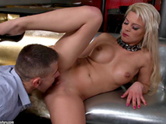Wonderful blonde with cute face is giving a good deep blowjob