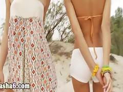lesbians masturbating pussies on beach