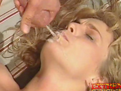 Sweet blonde is giving a blowjob and fucking in her anal