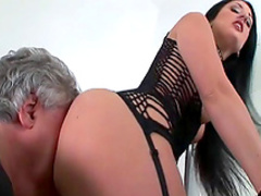 Slender milf with small tits gets her ass licked