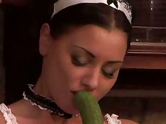Anneta Keys and a cucumber