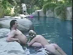 Crystal Gold pool threesome