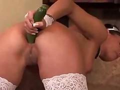 Anneta Keys and a cucumber
