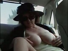 Old lady fucks her chauffeur and a hitchhiker