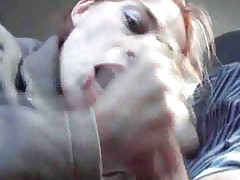 Enthusiastic blowjob in the car