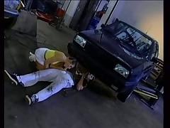 Denise Labouche DPed in a garage