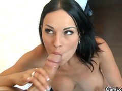 Pretty brunette is sucking spicy horny dick