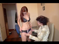 Redhead and granny masturbate with strapon and dildo