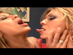 Fiery lesbians bang each other with toys