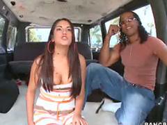 Interracial van sex with slut