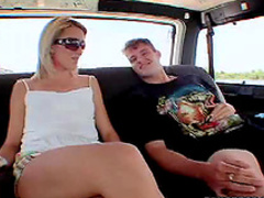 Shaved blonde car sex
