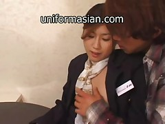 Asian Hairy Air Hostess in uniform getting sex
