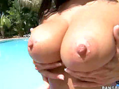 Ava Addams shows tits outdoors