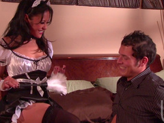 Cute brunette Kaylani Lei is making a blowjob