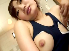 Japanese cutie is stretching her shaved hole