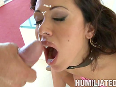 Brunette Sienna West being fucked with gag in her mouth