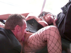 Sexy babe being double penetrated in her holes