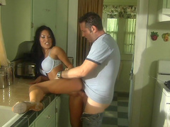 Asian beauty Asa Akira sucks that slender dick