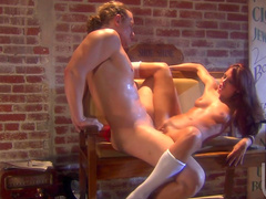 Sweet French babe Kirsten Price makes a blowjob