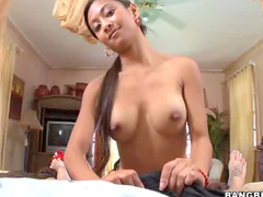 Busty Asian strokes big cock