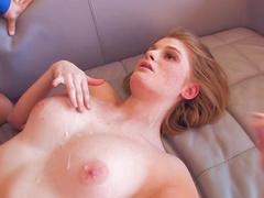Pornstar Faye Reagan performs in a blowjob scene