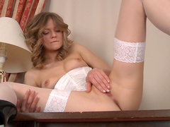 Curly brunette Patritcy is playing with her strings