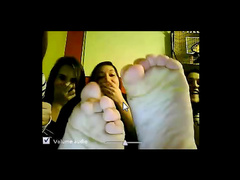 Webcam foot waving cuties