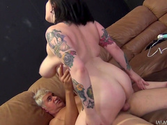 Chbuby tattooed Scarlet LaVey rides on the dick