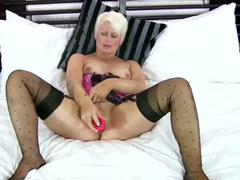 Marvelous lingerie on masturbating milf