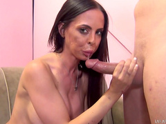 Nasty pornstar Brandy Aniston rides on the long dick