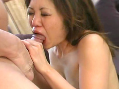 Sensual Asian babe gets drilled on the sofa