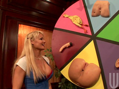 Blonde Rhylee Richards is fingering her shaved hole