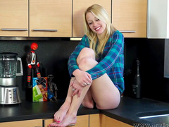 Slender blonde is playing with her nasty toys