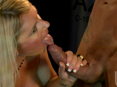 Slender blonde Ahryan Astyn is sucking a horny dick