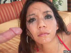 Nasty babe Keanni Lei makes a sloppy deepthroat