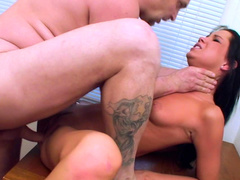 Hardcore brunette Tanner Mayes is getting cum in mouth