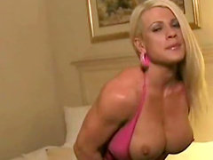 Muscular blonde nude in hotel