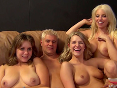 Blonde Britney Amber is playing with her sisters