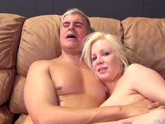 Blonde with big tits is riding on the hard dick