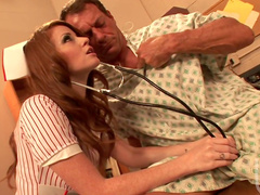 Slutty nurse Nikki Rhodes fucks with her client