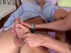 Sweet blonde Sheila Grant is making a nice footjob