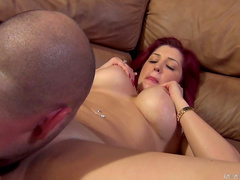 Redhead babe is getting fucked in her tattooed ass