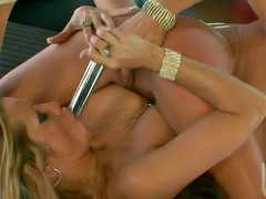 Alektra Blue is poking pussy of Jessica Drake using her dildo