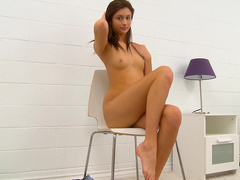 Straight model Presley Dawson is posing and fingering
