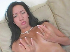 Hardcore brunette Giselle Vega is demonstrating her boobies