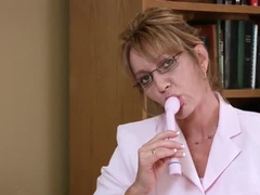 Office mature and her toy